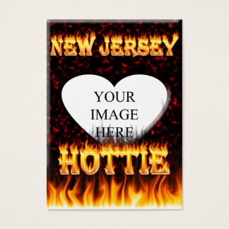 New Jersey Hottie fire and red marble heart. Business Card