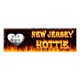 New Jersey Hottie fire and red marble heart. Double-Sided Mini Business Cards (Pack Of 20)