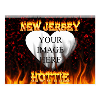 New Jersey Hottie fire and red marble heart. Postcard