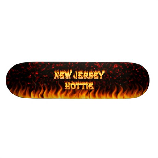 New Jersey Hottie fire and red marble heart. Skateboard