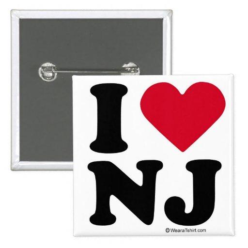 "NEW JERSEY - ""I LOVE NJ"" ""I LOVE NEW JERSEY""  PINBACK BUTTON"