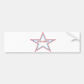 New Jersey in a star. Bumper Sticker