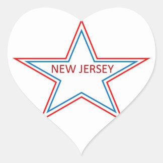 New Jersey in a star. Heart Sticker