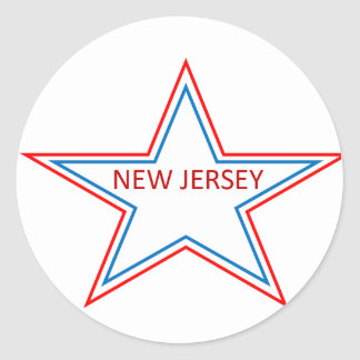 New Jersey in a star. Round Stickers
