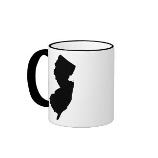 New Jersey in Black and White Coffee Mugs