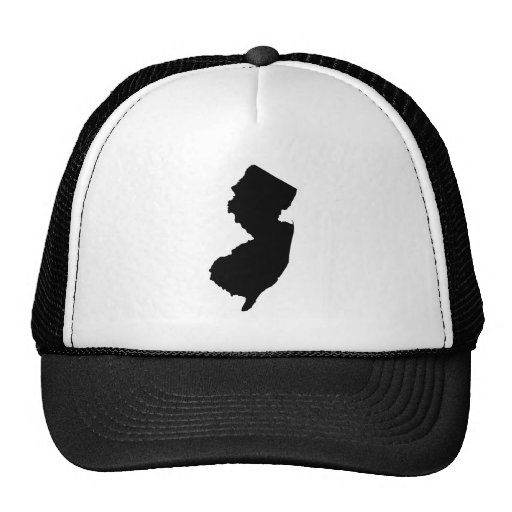 New Jersey in Black and White Trucker Hat