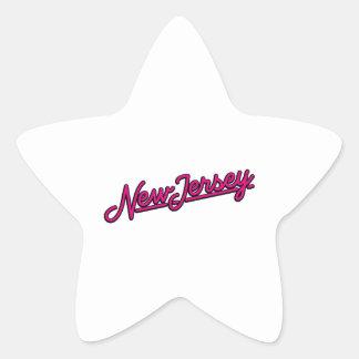 New Jersey in magenta Star Sticker