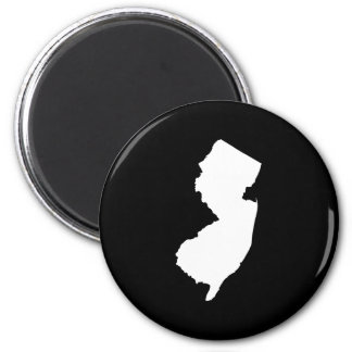 New Jersey in White and Black 2 Inch Round Magnet