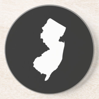 New Jersey in White and Black Coasters