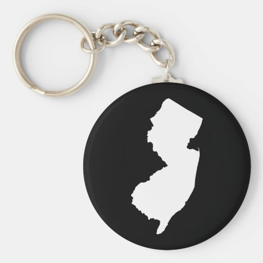 New Jersey in White and Black Keychain