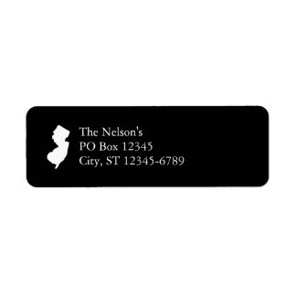 New Jersey in White and Black Return Address Label