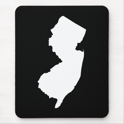 New Jersey in White and Black Mouse Pad