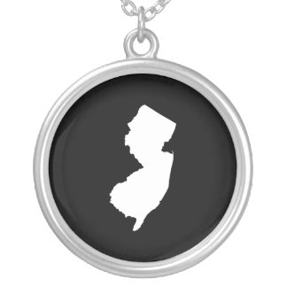 New Jersey in White and Black Silver Plated Necklace