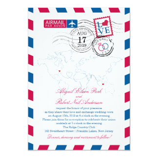 New Jersey & Indonesia Airmail Wedding Custom Announcements
