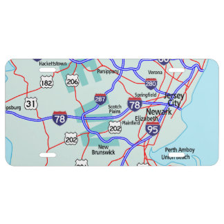 NEW JERSEY Interstate Map License Plate
