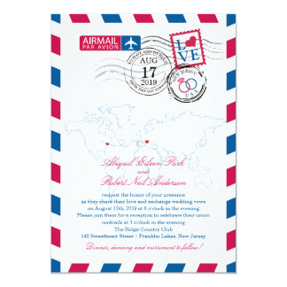 New Jersey & Italy Airmail Heart Wedding 5x7 Paper Invitation Card