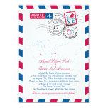 """New Jersey & Italy Airmail Heart Wedding 5"""" X 7"""" Invitation Card"""