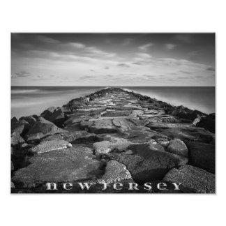 New Jersey Jetty Black and White Photo Print