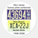 New Jersey License Plate Centennial Classic Round Sticker