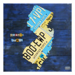 New Jersey License Plate Map Print