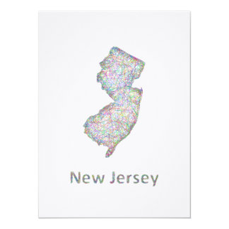 New Jersey map 5.5x7.5 Paper Invitation Card