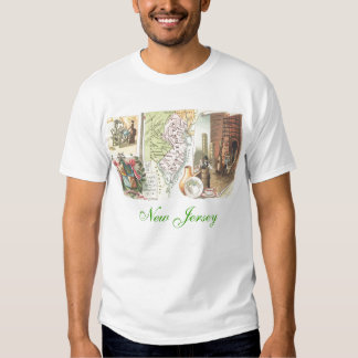 New Jersey map and historic scenes T-shirt