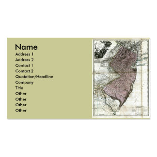 New Jersey Map and State Flag Double-Sided Standard Business Cards (Pack Of 100)