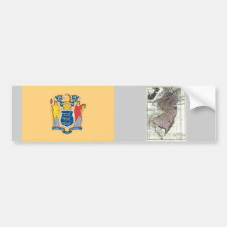 New Jersey Map and State Flag Car Bumper Sticker