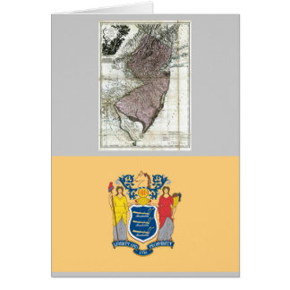 New Jersey Map and State Flag Card