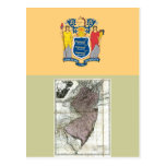 New Jersey Map and State Flag Post Cards