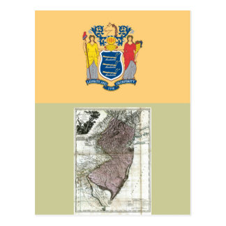 New Jersey Map and State Flag Postcard