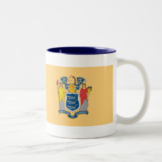 New Jersey Map and State Flag Two-Tone Coffee Mug