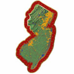 "New Jersey Map Christmas Ornament Cut Out<br><div class=""desc"">This acrylic ornament shaped from a relief map of New Jersey surrounded by festive trim will add novel New Jersey flair to your seasonal decorations. Also available as a pin,  magnet or keychain. 