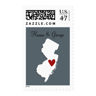 New Jersey Map + Heart Customizable Wedding Stamp