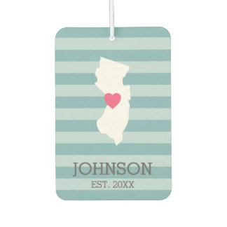 New Jersey Map Home State Love Optional Heart Air Freshener