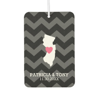 New Jersey Map Home State Love Optional Heart Car Air Freshener