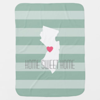 New Jersey Map Home State Love with Custom Heart Receiving Blanket