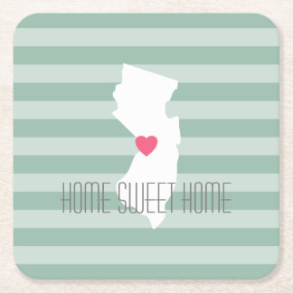 New Jersey Map Home State Love with Custom Heart Square Paper Coaster