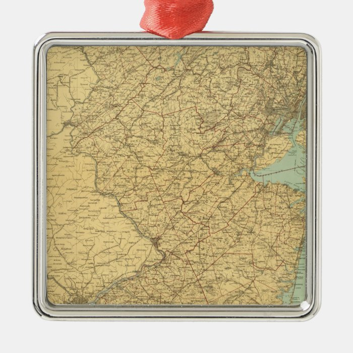 New Jersey Map Metal Ornament