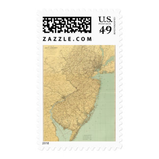 New Jersey Map Postage Stamp