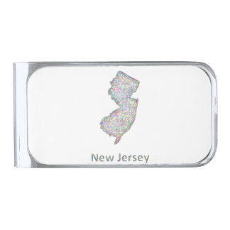 New Jersey map Silver Finish Money Clip