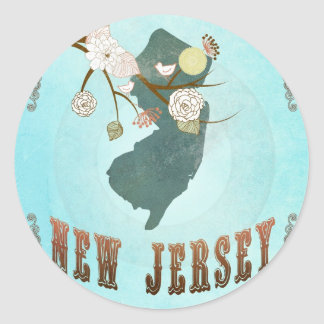 New Jersey Map With Lovely Birds Classic Round Sticker