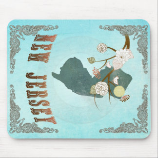 New Jersey Map With Lovely Birds Mouse Pad