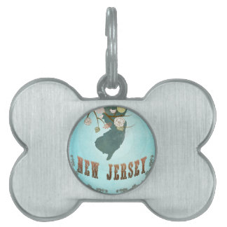 New Jersey Map With Lovely Birds Pet Tag