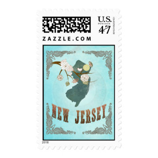 New Jersey Map With Lovely Birds Postage