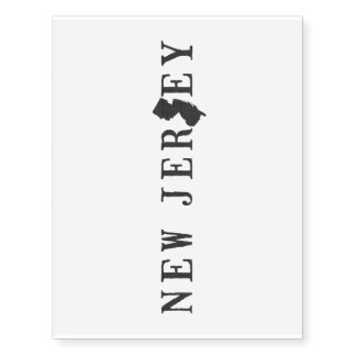 New Jersey Name with State Shaped Letter Temporary Tattoos