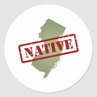 New Jersey Native with New Jersey Map Classic Round Sticker