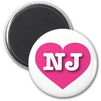New Jersey NJ hot pink heart 2 Inch Round Magnet
