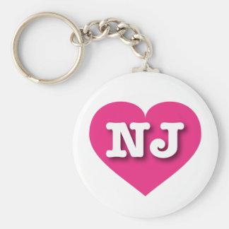 New Jersey NJ hot pink heart Basic Round Button Keychain