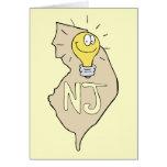 New Jersey NJ Map with funny Light Bulb Cartoon Card